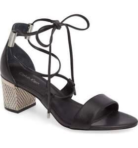 e2ce7f91a04  139 size 8 Calvin Klein Natania Black Open Toe Leather Lace Up Heel ...