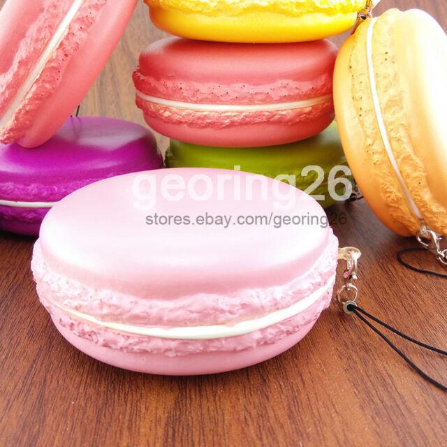 Jumbo 8CM Kawaii Soft Dessert Macaroon Squishy Cute Cell phone Charms Key Strap