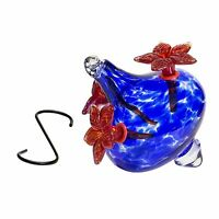 HUMMINGBIRD FEEDERS  Hand-Blown Glass Blue Red Flowers Vase Garden Art Bird