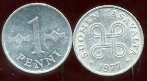 FINLANDE-1-penni-1977-bis