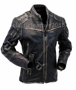 Mens Vintage Biker Style Motorcycle Cafe Racer Distressed Leather