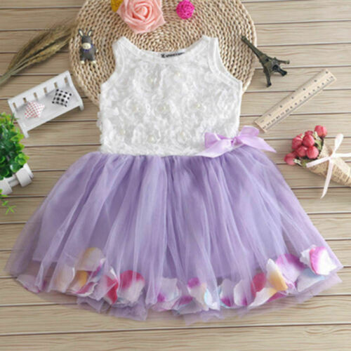Kids Flower Net Lace Princess Tutu Dress Prom Wedding Embroidered Girls Dresses.