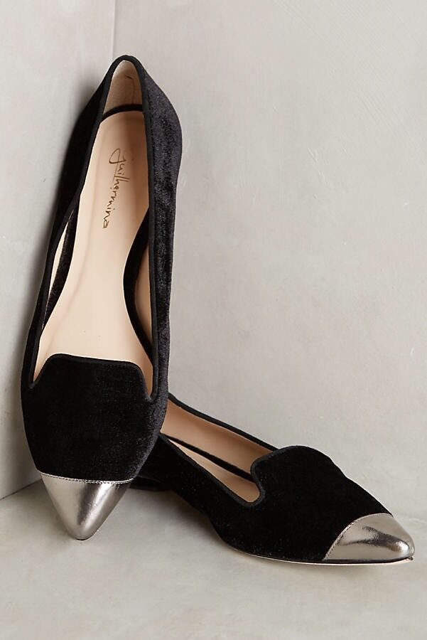 Anthropologie Sz 8.5 Or 9 (40 Euro) Guilhermina Velvet Smoking Flats