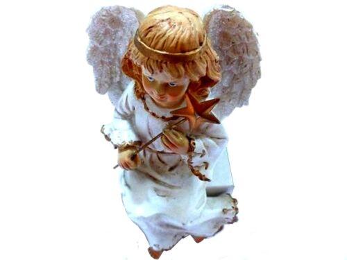 Guardian Angel Shelf Sitter Made of Porcelain Angel Figure Green Angel
