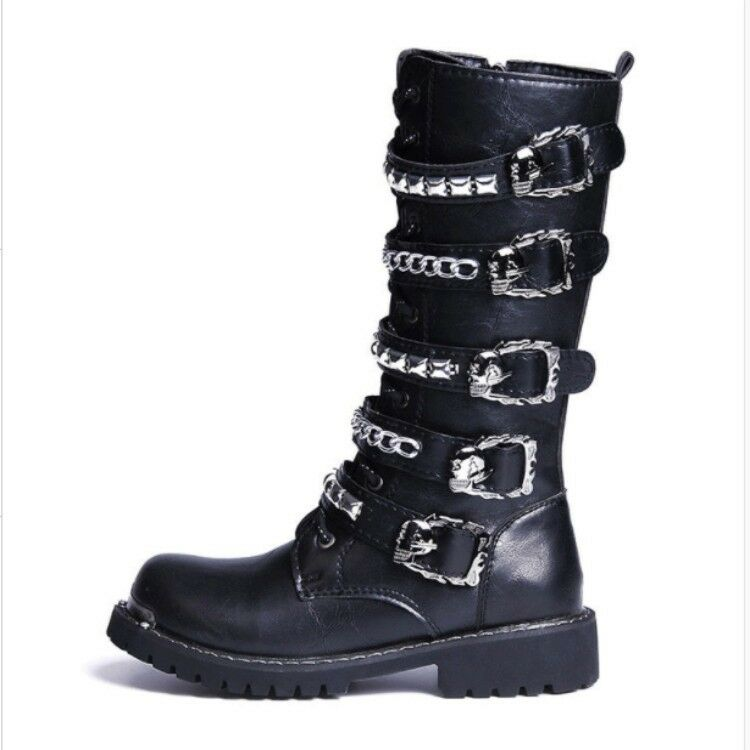 2019 Mens Mid Calf Boots Punk Studed Spike Chain Buckles Zipper Lace Up Knight