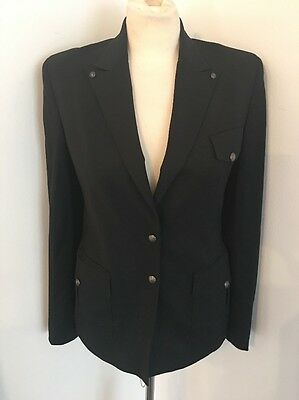 VERSACE COUTURE Stretch Wool Jacket Blazer Button Studded Black Sz 8 42 UNIQUE