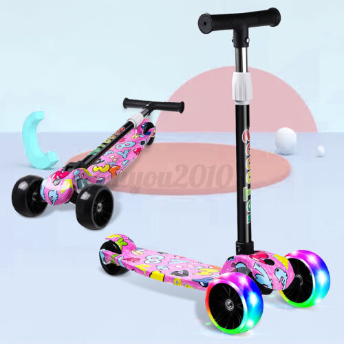 Scooter For Kids Kick Scooter Smooth 3 Wheel LED Light For Toddler Girls Boys