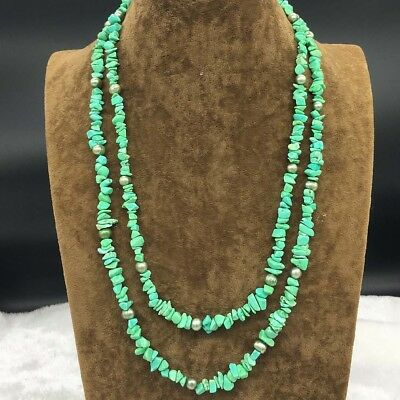 """Beautiful Green Turquoise 13x18mm Beads Necklace 48"""" Long"""