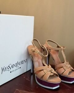 Purple Size Suede 12 Saint 38 Yves Laurent Tribute Heels Floral Ysl lcTF1JK3