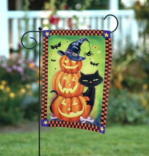 """Black Cat Pumpkins Halloween Garden Flag Double Sided 12/"""" x 18/"""""""