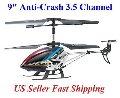 "New Black 9"" Super Anti-Crash SJ250 2 Speed 3.5 Ch RC Helicopter Builtin GYRO"