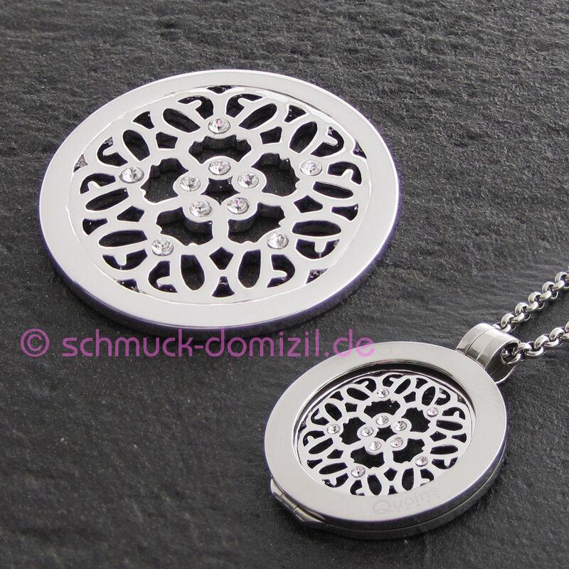 NEU Quoins - Scheibe Münze coin - Edelstahl mit Zirkonias QMOA-42M-Z - Gr. M