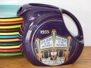 HLCCA-2003-Fiesta-PLUM-Juice-Pitcher-1935-DISH-NIGHT-AT-THE-MOVIES-1st-Quality