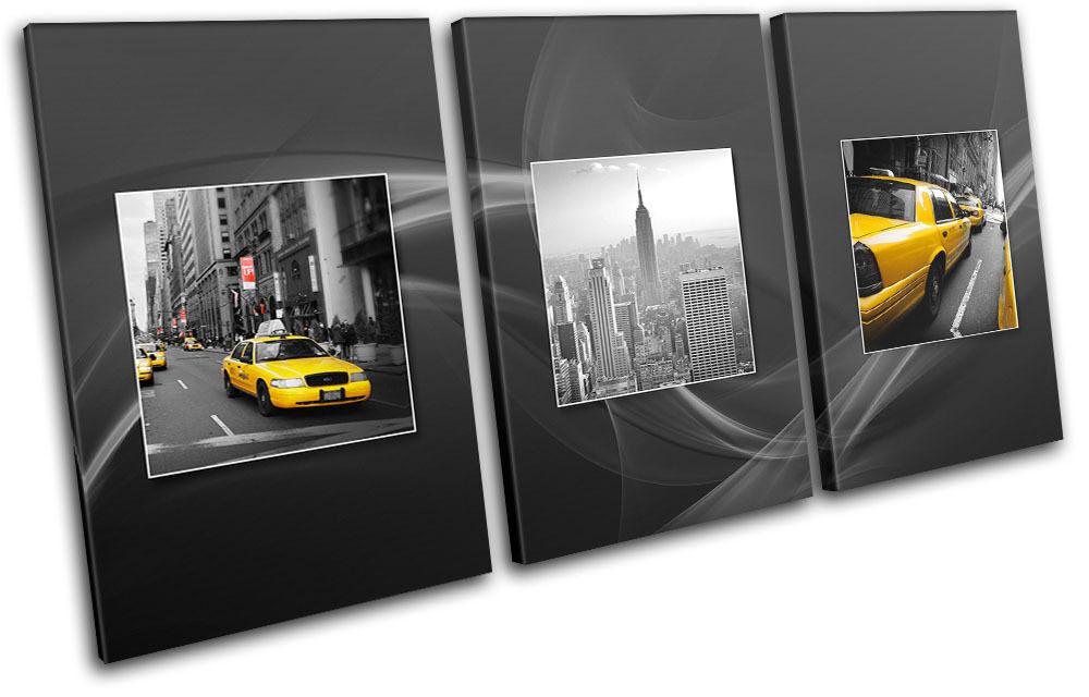 New York Gelb Taxi City TREBLE Leinwand Wand Kunst Bild drucken