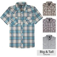 Big Men's Western Plaid Shirt Short Sleeve 3xl 4xl 5xl Casual Country Grp 894