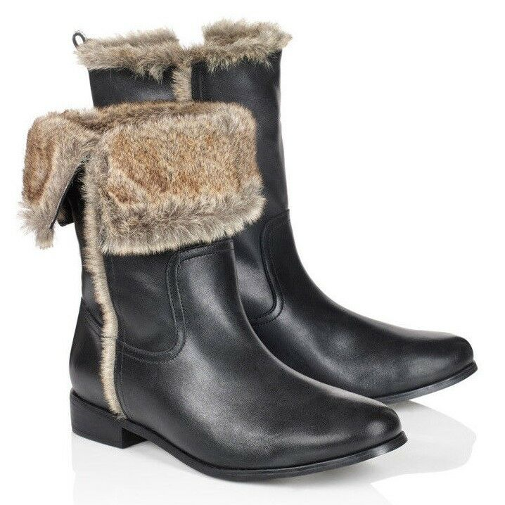 NIB - LONG TALL SALLY Women's 'DELUXE FAUX FUR'  LEATHER BOOTS - US 10 /