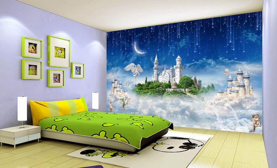 3D Meteor Engels Schloss 864 Tapete Wandgemälde Tapete Tapeten Bild Familie DE