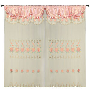 """Rose Pink Room Decor Tier Embroidery Transparent Valence Window Drapes 60x90+18"""""""