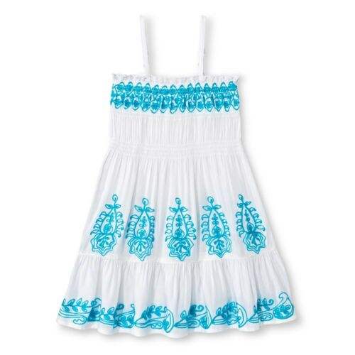 U-Knit Toddler Girls Blue Embroidered White Dress 4T Size 3T