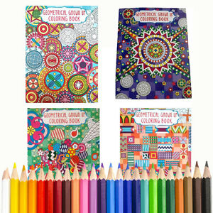 4 GEOMETRIC Coloring Books + BONUS COLORED PENCILS FOR All ages Young & Adults
