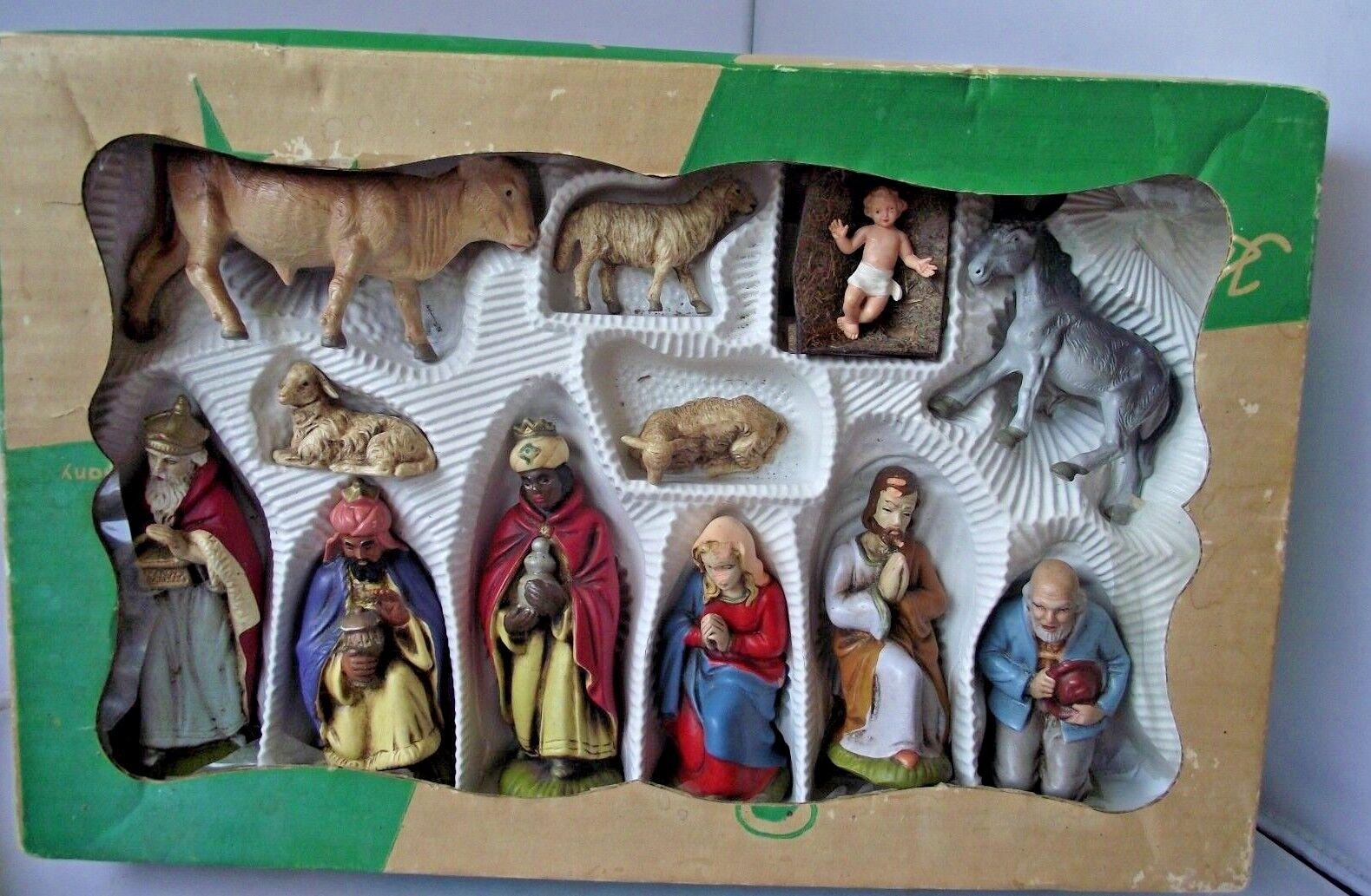 Vintage Nativité Coffret Ensemble de figurines ELASTOLIN Allemagne de l'ouest plastique Coffret Nativité Figurines 812d89