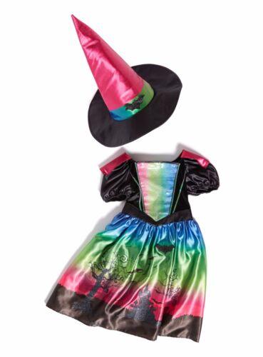 Strega Costume Vestito Set Con Cappello Taglia 3-4,7-8yrs