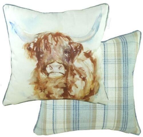 Luxury Watercolour highland Cow Tartan Check Evans Lichfield Cushion Cover 17!