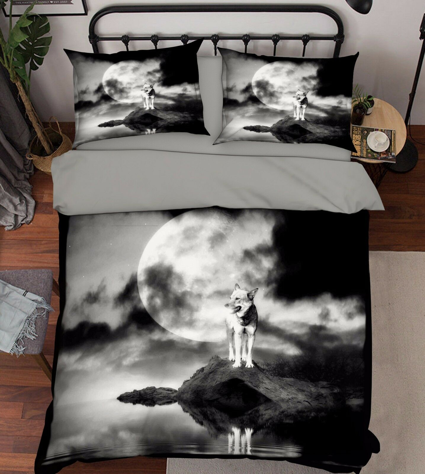 3D MOON WOLF 916 Federe Letto Trapunta Set Copripiumino Singolo QUEEN UK Estate