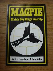 01021975 Notts County v Aston Villa  Folded - <span itemprop=availableAtOrFrom>Birmingham, United Kingdom</span> - Returns accepted within 30 days after the item is delivered, if goods not as described. Buyer assumes responibilty for return proof of postage and costs. Most purchases from business s - Birmingham, United Kingdom
