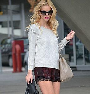 Zara Pantalones Cortos Comprobado Con Encaje Talla Xs Ebay