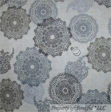 BonEful Fabric FQ Cotton VTG Cream Off White Gray Black B&W Lace Flower Paisley