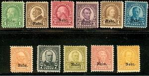 US #669-79 1¢ - 10¢ NEBR. Ovpt, Complete set hinged F/VF Scott $265.25