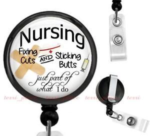 Details about Nursing Clip On Id Badge Reel Retractable Work Identification  Holder Nurse Gift