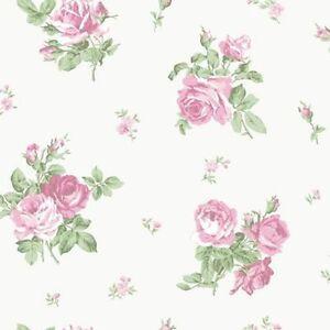 G34315 Englisch Blumen Blumenmuster Grün Rosa Galerie Tapete Ebay