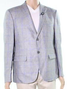 Lauren by Ralph Lauren Mens Sport Coat Gray Size 40 Short Plaid Linen $295- 027