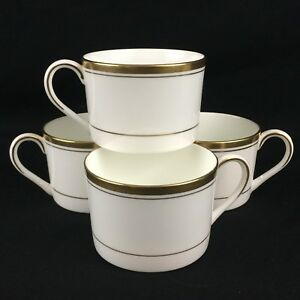 Set-of-4-VTG-Tea-Coffee-Cups-by-Coalport-Connoisseur-White-and-Gold-England