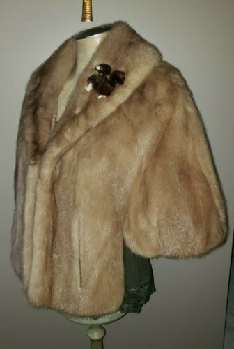 Vintage 50's mink fur shawl cape shrug cape autumn