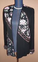 Tommy N Loulou Black Floral Patchwork Open Lightweight Jacket Size S