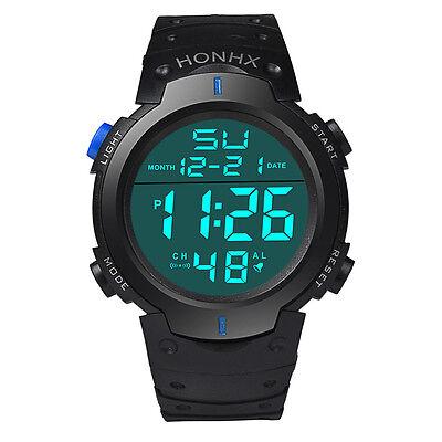 Waterproof Men Watch LCD Digital Stopwatch Date Rubber Sport Military Wristwatch