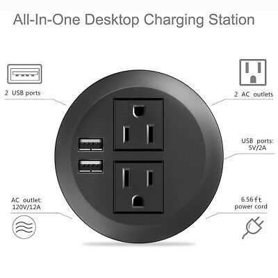 Desktop Power Grommet with USB,Hidden Power Socket Desk Hole Grommet Outlet,Easy Access to 2 Power Source Along with 4 USB Power Port Connections