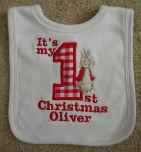 Personalised Peter Rabbit bib pink blue white embroidered with name /& date