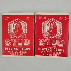 Vintage Stud Playing Cards Two Decks Red Poker Size Linen Finish Walgreens