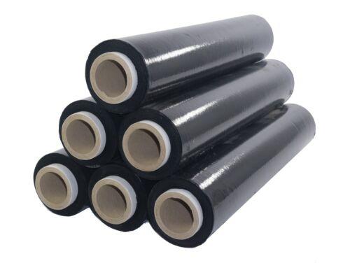 6x schwarze Stretchfolie 23my 500 mm 2,5 kg Polyethylen Folie Cast-Film Umzug