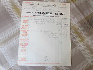 DRAKE Co MIDDLESBROUGH Invoice To NESFIELDS Brewery Re SPA - Drake invoice