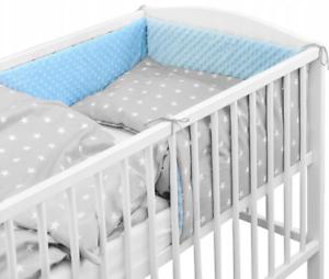 Baby 5PC Ensemble de literie oreiller couette PARE-CHOCS FIT Cotbed 140x70cm bleu//petites étoiles
