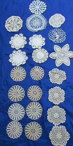 Lot 22 Vintage Doilies Doily Crochet  Crocheted Cotton 30408 Ecru Ivory Lace