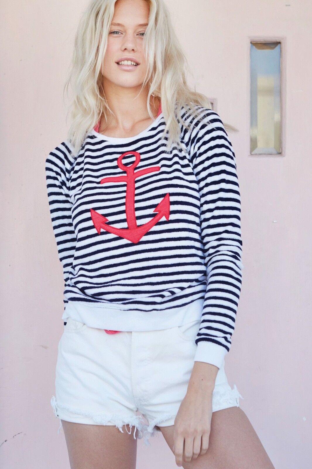 SUNDRY Anchor Sweatshirt Shirt in Weiß Navy Rosa Größe 2 M