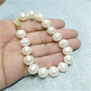 a79bbdfe6c66e Details about 12-13mm South Sea White Baroque Pearl Bracelet 7.5-8