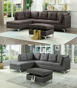 Details about The Room Style 3-Piece Fabric Sectional Sofa Set with  Ottoman, in Brown/ Gray