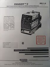 Lincoln Ranger 9 Welder Generator Owners Amp Onan Engine Parts 2 Manual S Gas